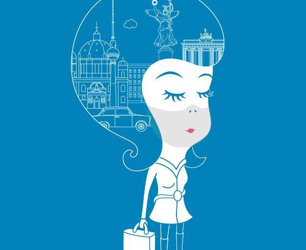 Illustration Frau auf blauen Hintergrund,